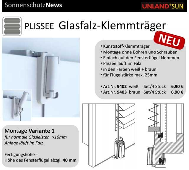 PLISSEE Glasfalz-Klemmträger NEU